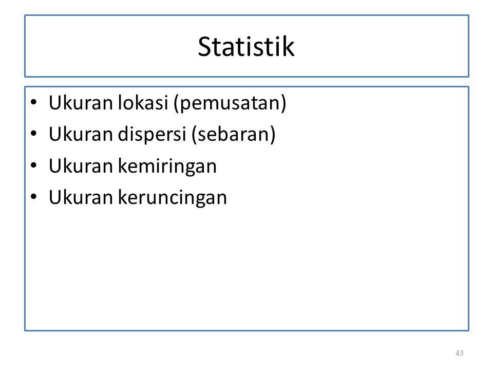 Statistik Ukuran lokasi (pemusatan) Ukuran dispersi (sebaran)