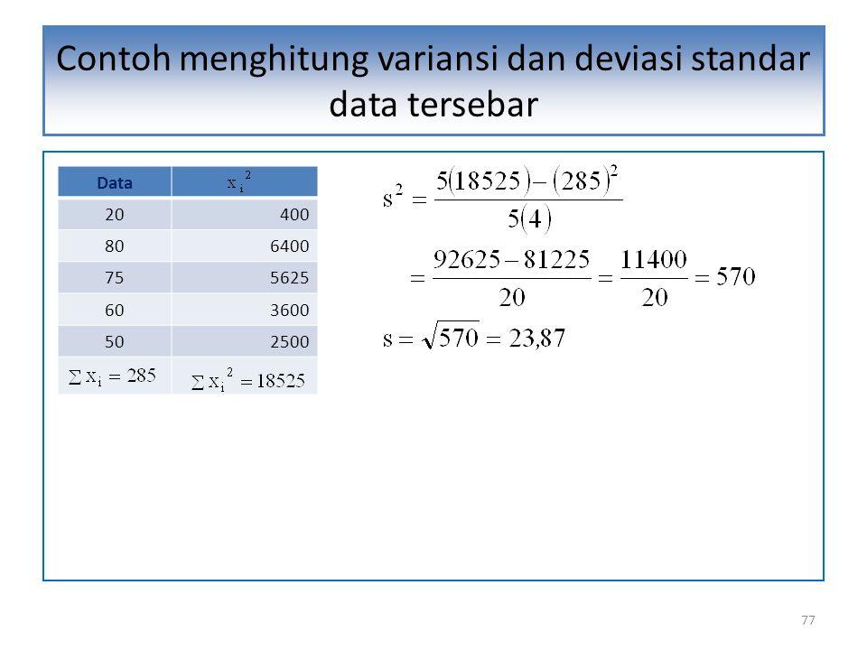 Contoh menghitung variansi dan deviasi standar data tersebar