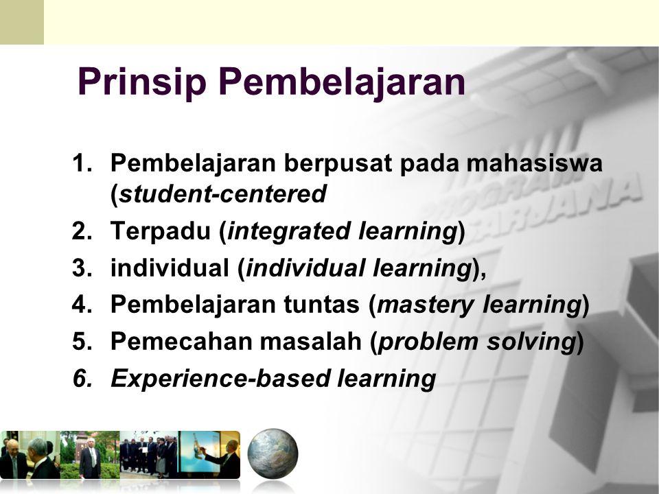 Prinsip Pembelajaran Pembelajaran berpusat pada mahasiswa (student-centered. Terpadu (integrated learning)