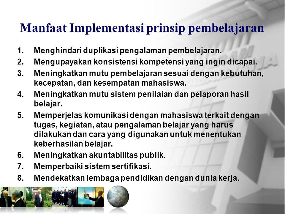 Manfaat Implementasi prinsip pembelajaran