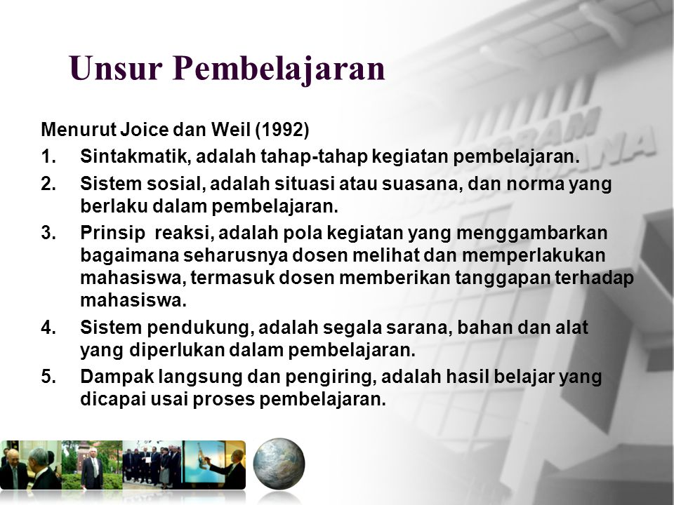 Unsur Pembelajaran Menurut Joice dan Weil (1992)