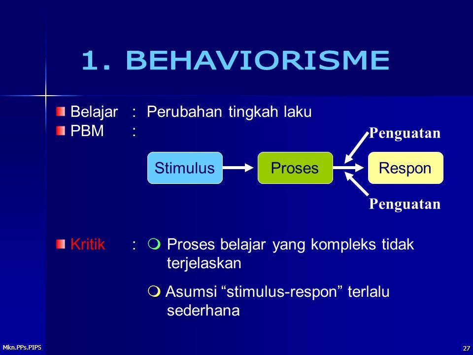 1. BEHAVIORISME Belajar : Perubahan tingkah laku PBM :