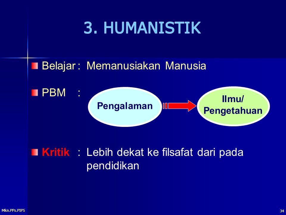 3. HUMANISTIK Belajar : Memanusiakan Manusia PBM :