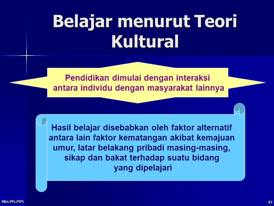 Belajar menurut Teori Kultural