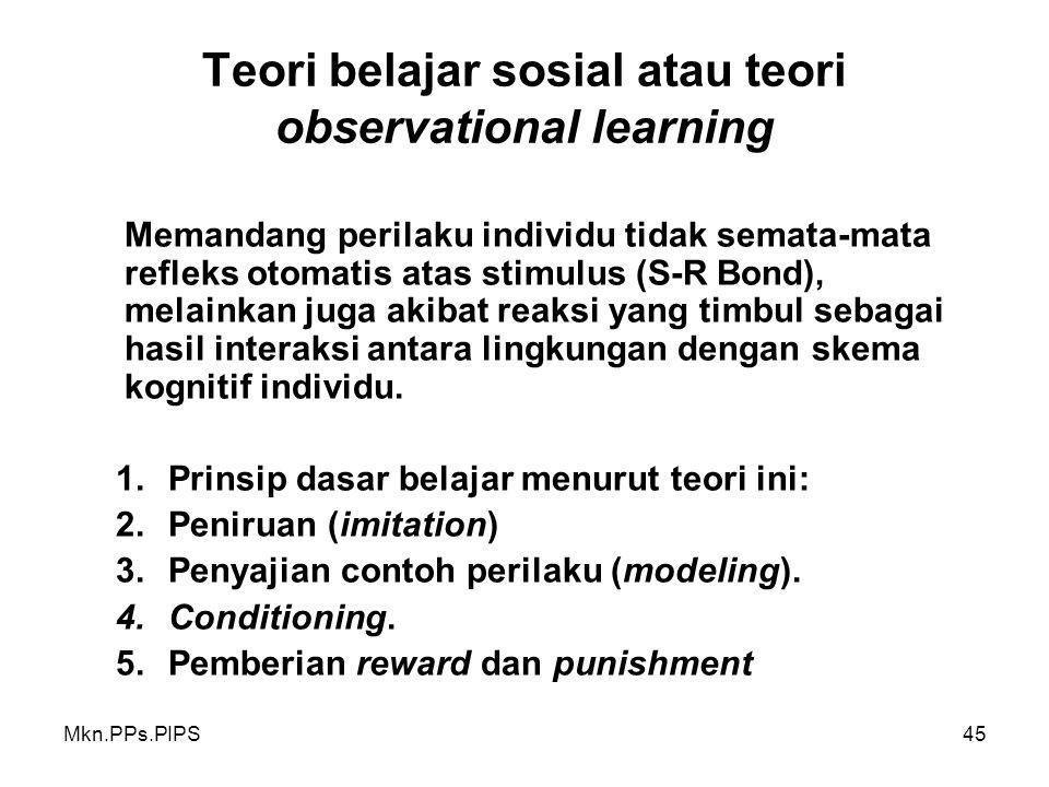 Teori belajar sosial atau teori observational learning
