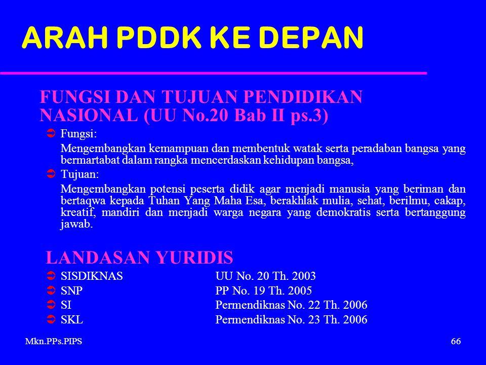 ARAH PDDK KE DEPAN FUNGSI DAN TUJUAN PENDIDIKAN NASIONAL (UU No.20 Bab II ps.3) Fungsi: