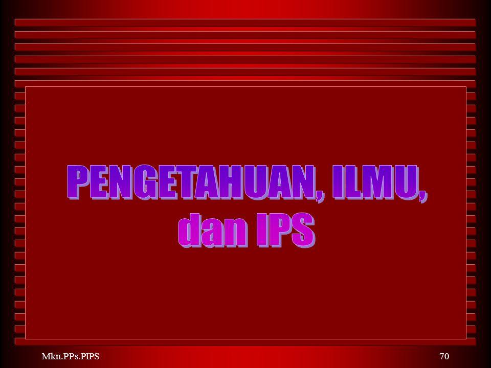 PENGETAHUAN, ILMU, dan IPS Mkn.PPs.PIPS