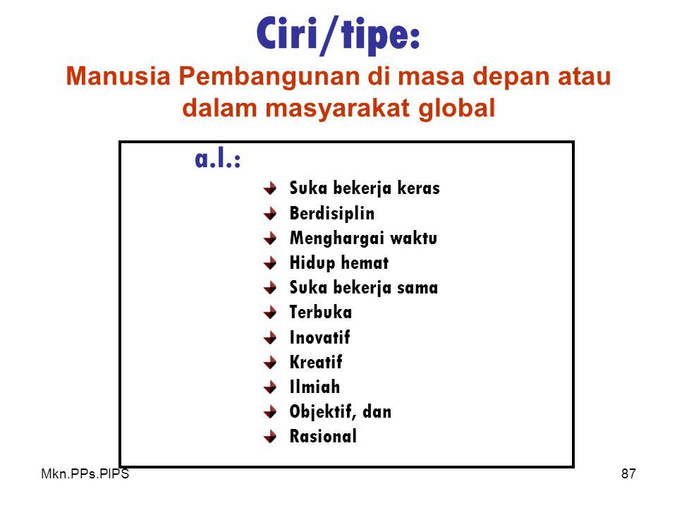 Ciri/tipe: Manusia Pembangunan di masa depan atau dalam masyarakat global