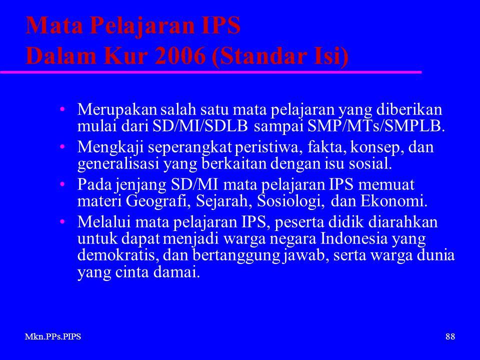 Mata Pelajaran IPS Dalam Kur 2006 (Standar Isi)