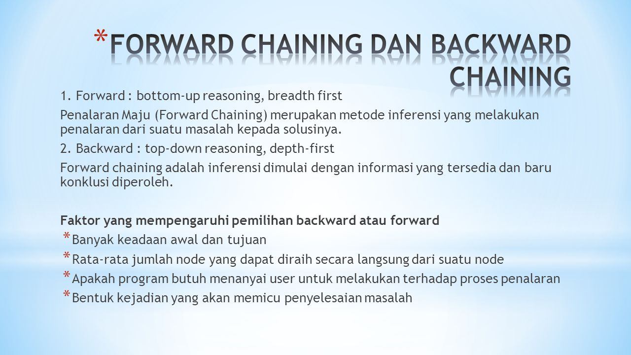 FORWARD CHAINING DAN BACKWARD CHAINING