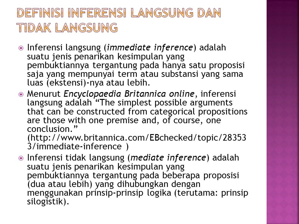 Definisi inferensi langsung dan tidak langsung