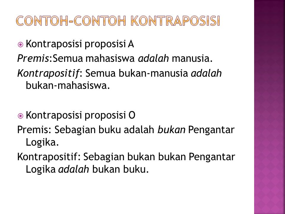 Contoh-contoh kontraposisi