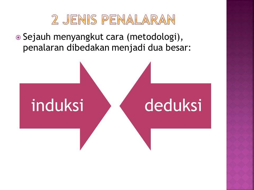 2 jenis penalaran Sejauh menyangkut cara (metodologi), penalaran dibedakan menjadi dua besar: induksi.