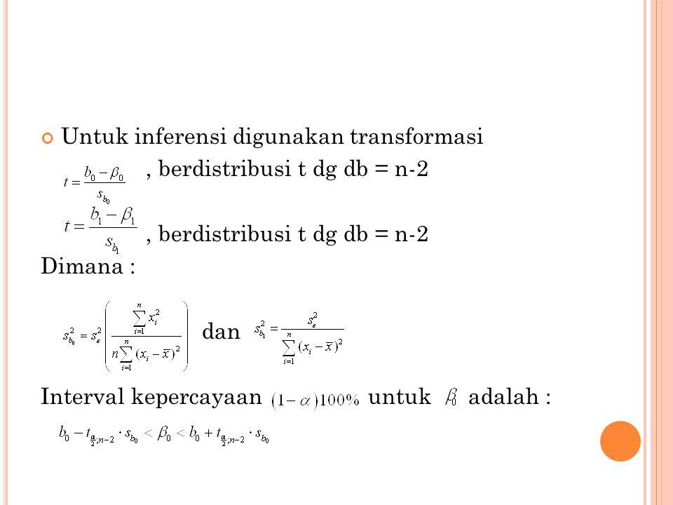 Untuk inferensi digunakan transformasi