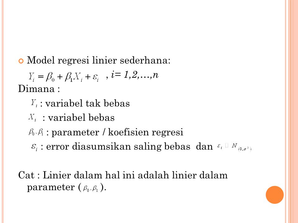 Model regresi linier sederhana: