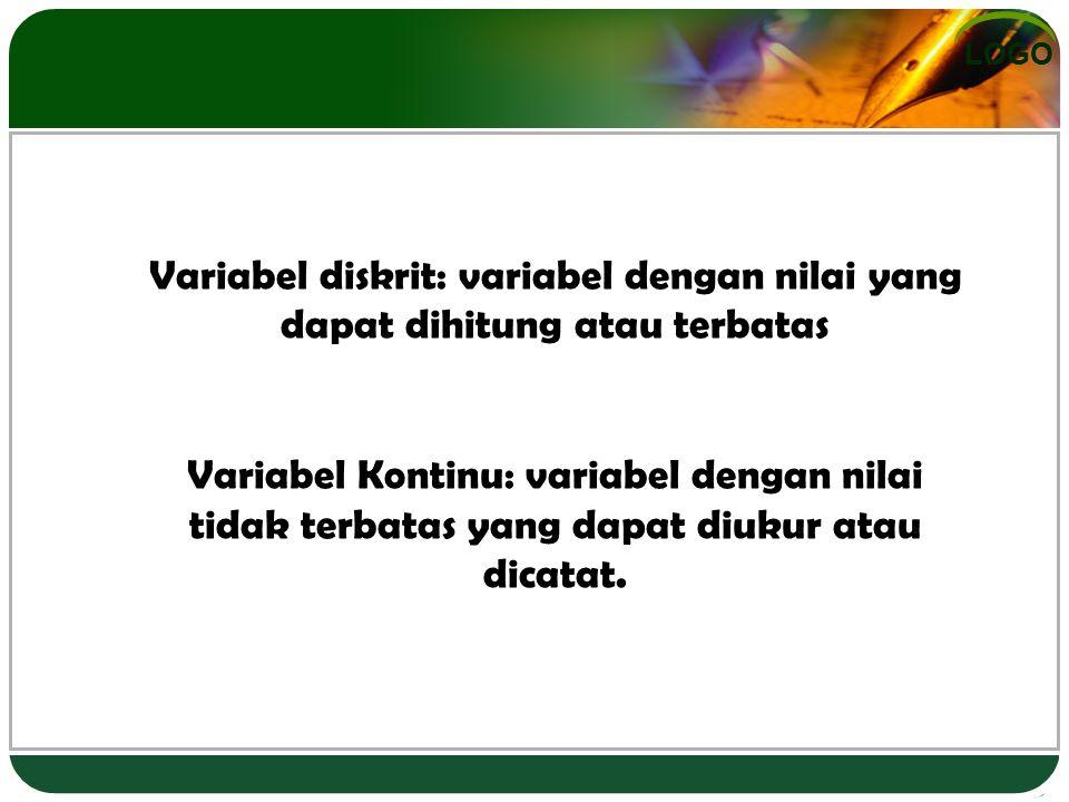 Variabel diskrit: variabel dengan nilai yang dapat dihitung atau terbatas