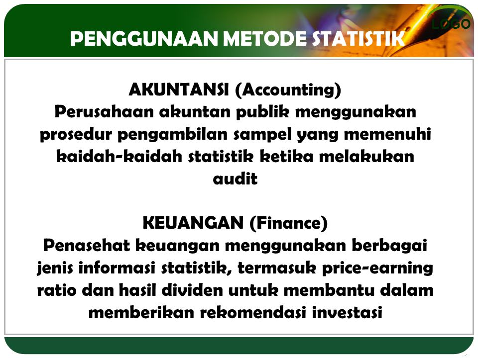 PENGGUNAAN METODE STATISTIK AKUNTANSI (Accounting)