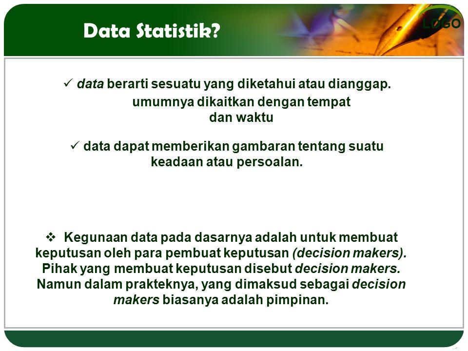 Data Statistik data berarti sesuatu yang diketahui atau dianggap.