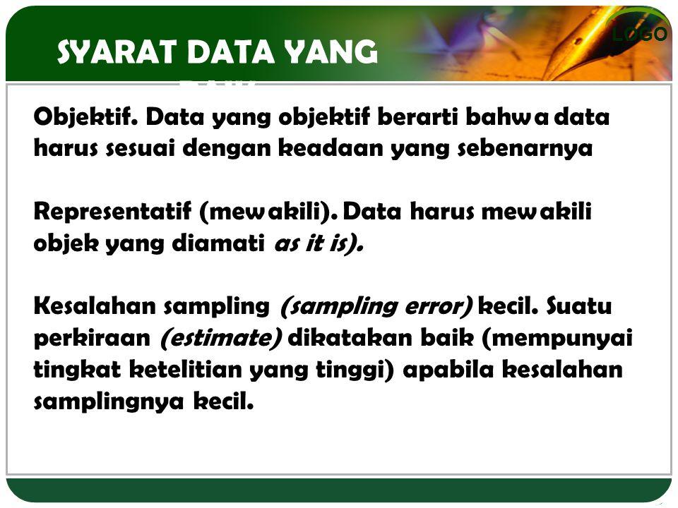 SYARAT DATA YANG BAIK Objektif. Data yang objektif berarti bahwa data harus sesuai dengan keadaan yang sebenarnya.