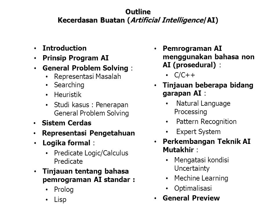 Kecerdasan Buatan (Artificial Intelligence/AI)