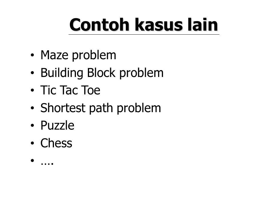 Contoh kasus lain Maze problem Building Block problem Tic Tac Toe