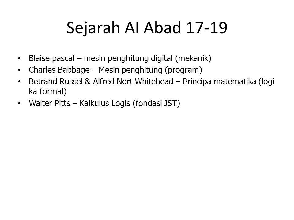 Sejarah AI Abad 17-19 Blaise pascal – mesin penghitung digital (mekanik) Charles Babbage – Mesin penghitung (program)