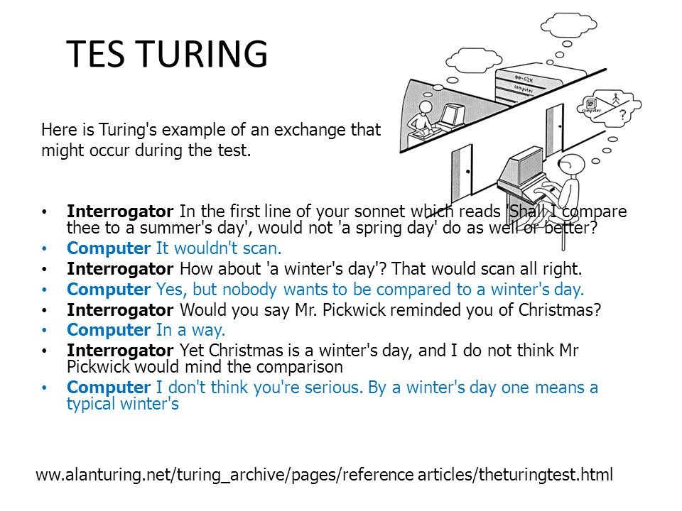 TES TURING Here is Turing s example of an exchange that