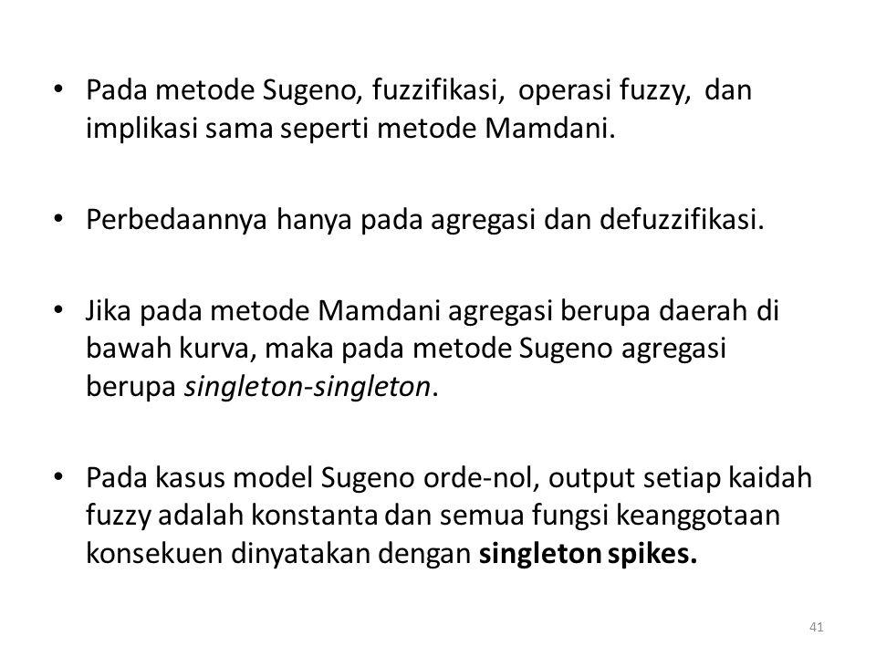 Pada metode Sugeno, fuzzifikasi, operasi fuzzy, dan implikasi sama seperti metode Mamdani.