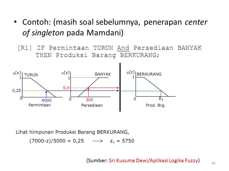 Contoh: (masih soal sebelumnya, penerapan center of singleton pada Mamdani)