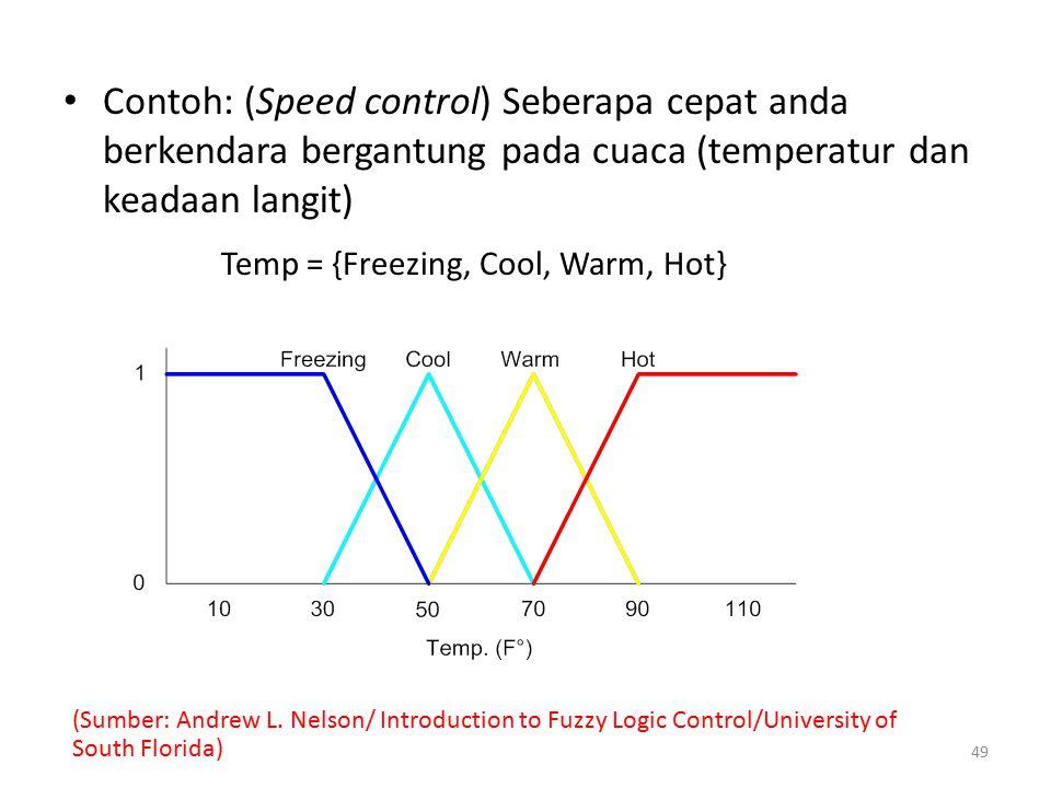 Contoh: (Speed control) Seberapa cepat anda berkendara bergantung pada cuaca (temperatur dan keadaan langit)