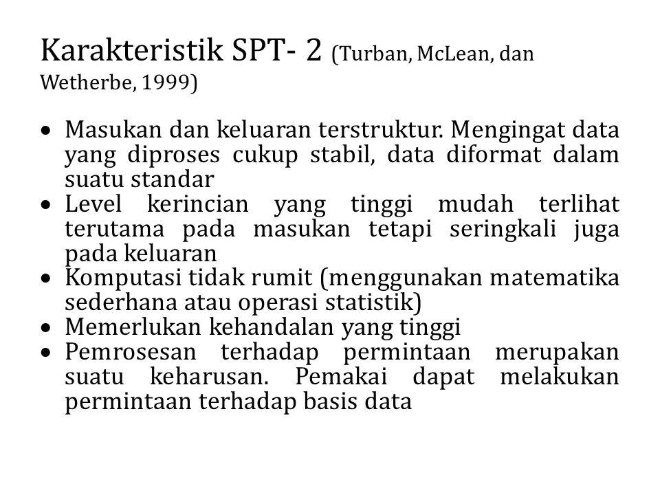 Karakteristik SPT- 2 (Turban, McLean, dan Wetherbe, 1999)