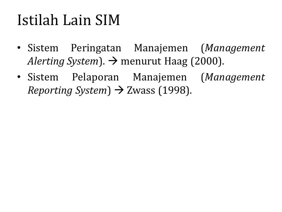 Istilah Lain SIM Sistem Peringatan Manajemen (Management Alerting System).  menurut Haag (2000).