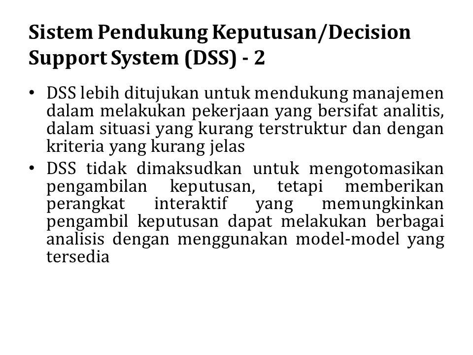 Sistem Pendukung Keputusan/Decision Support System (DSS) - 2