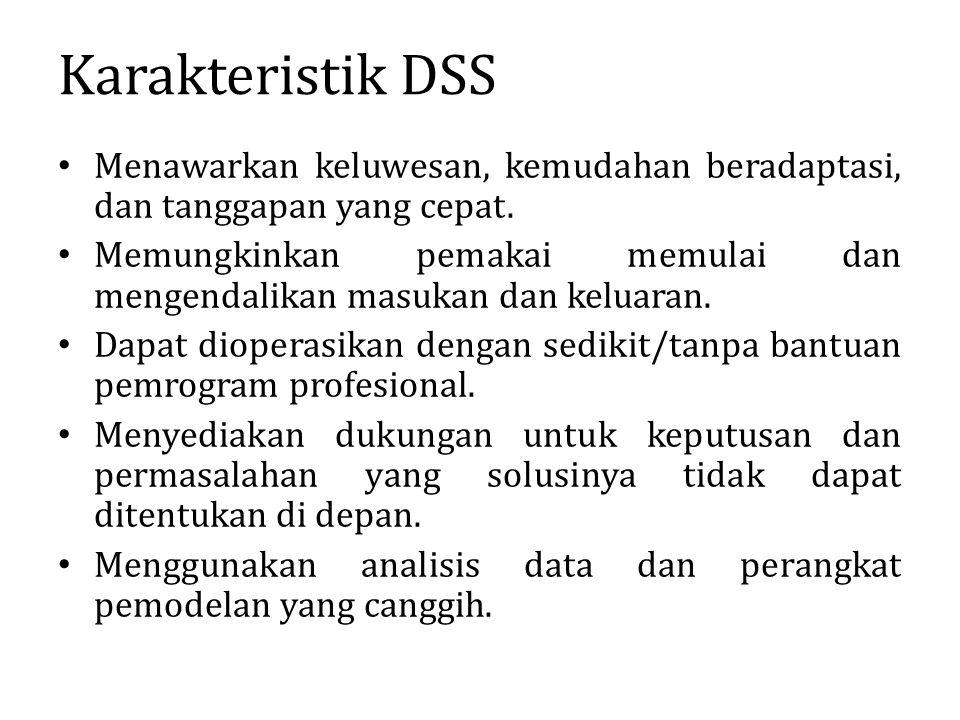 Karakteristik DSS Menawarkan keluwesan, kemudahan beradaptasi, dan tanggapan yang cepat.
