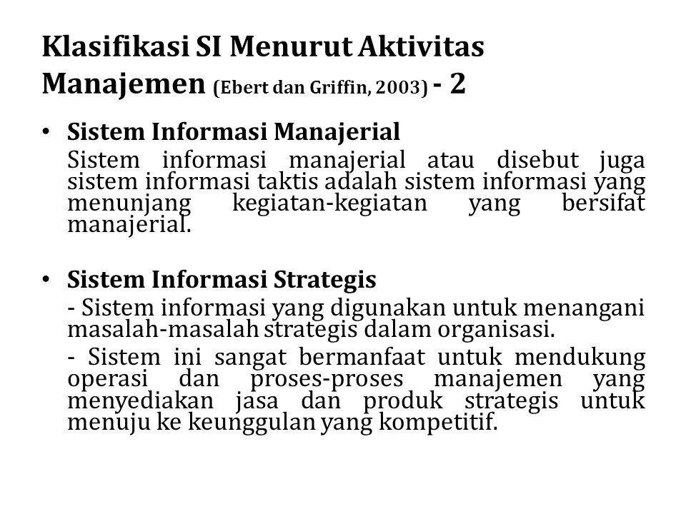 Klasifikasi SI Menurut Aktivitas Manajemen (Ebert dan Griffin, 2003) - 2