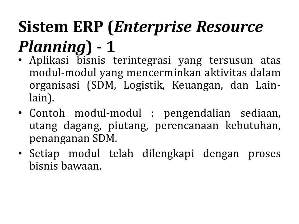 Sistem ERP (Enterprise Resource Planning) - 1