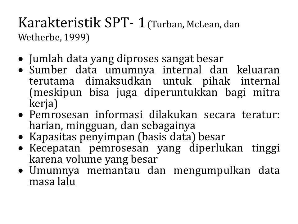 Karakteristik SPT- 1 (Turban, McLean, dan Wetherbe, 1999)