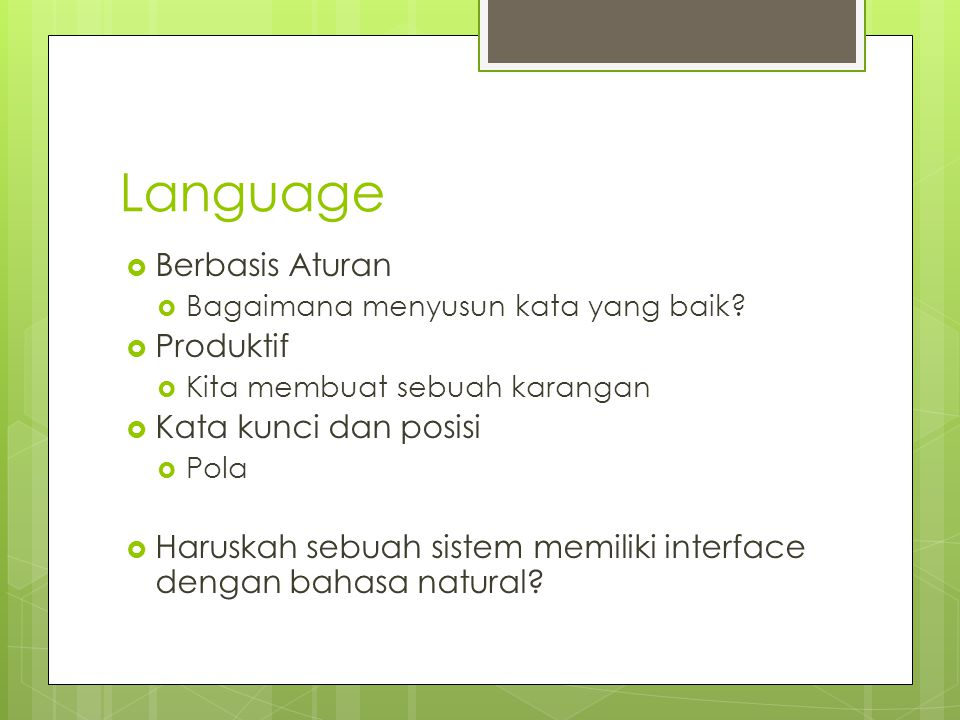 Language Berbasis Aturan Produktif Kata kunci dan posisi