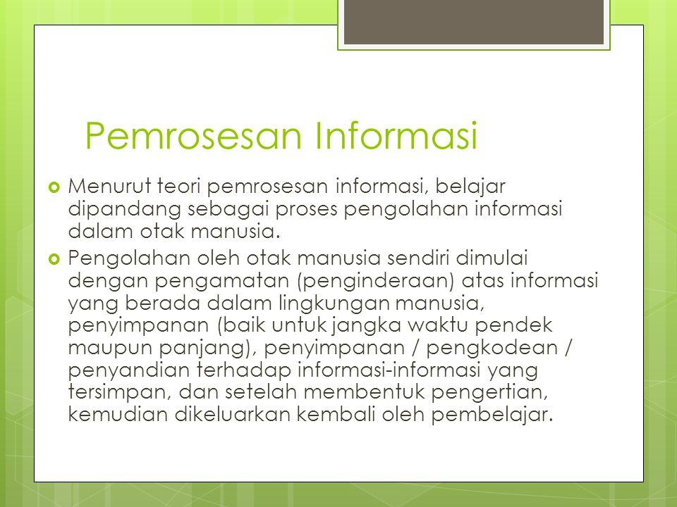 Pemrosesan Informasi Menurut teori pemrosesan informasi, belajar dipandang sebagai proses pengolahan informasi dalam otak manusia.
