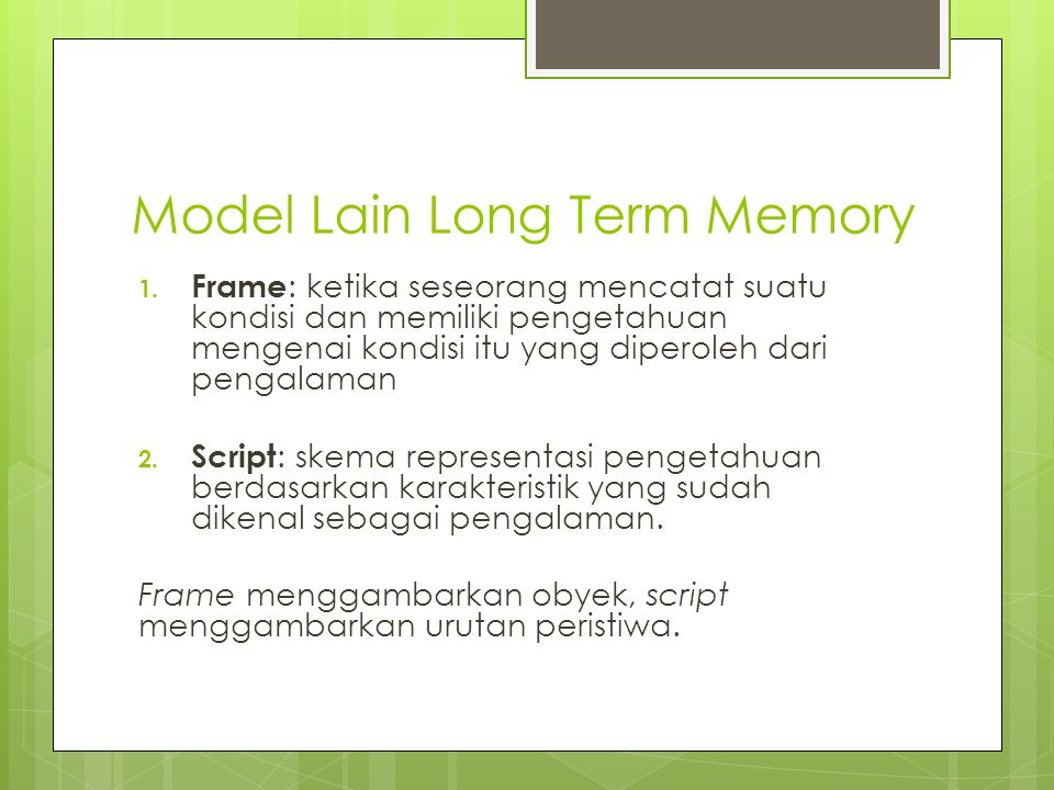 Model Lain Long Term Memory