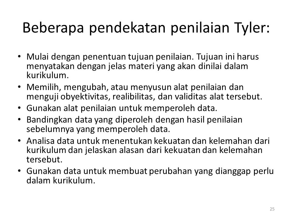 Beberapa pendekatan penilaian Tyler: