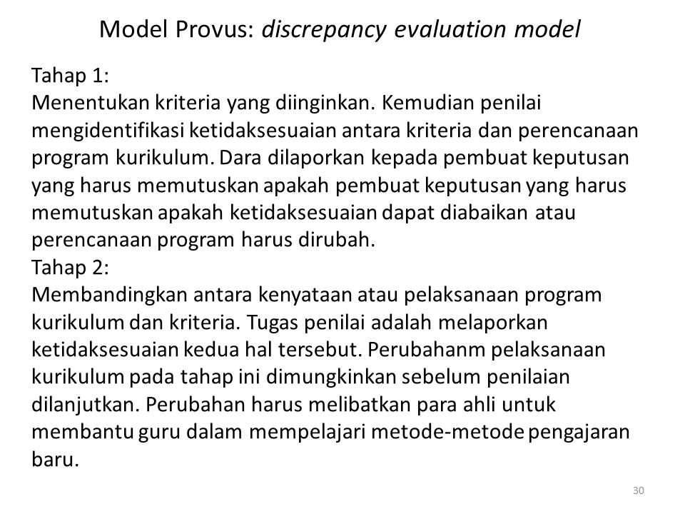 Model Provus: discrepancy evaluation model