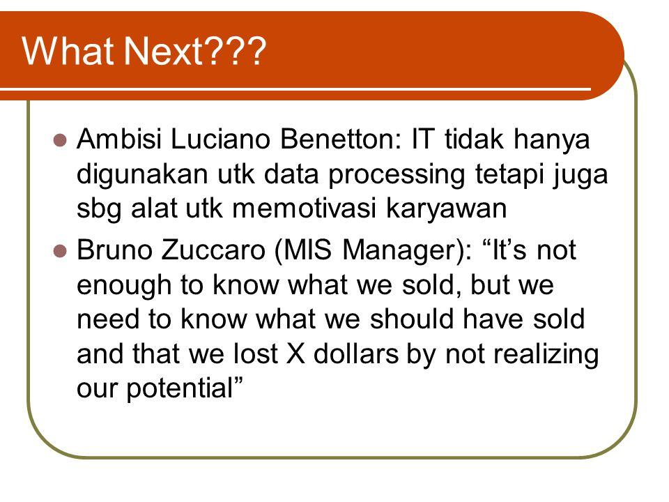 What Next Ambisi Luciano Benetton: IT tidak hanya digunakan utk data processing tetapi juga sbg alat utk memotivasi karyawan.