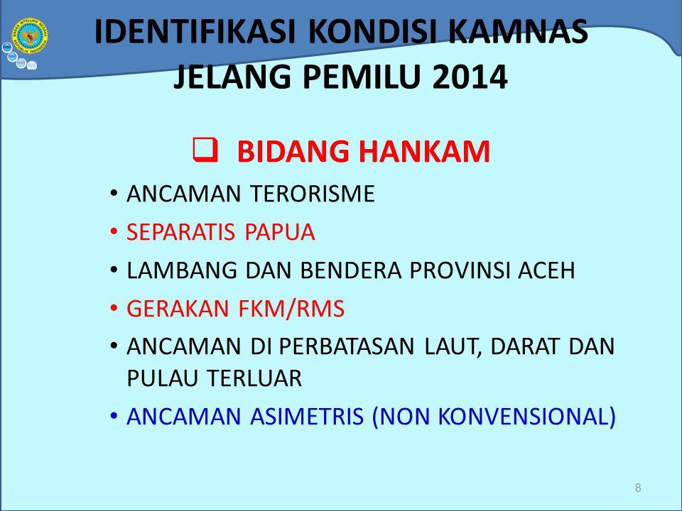 IDENTIFIKASI KONDISI KAMNAS JELANG PEMILU 2014