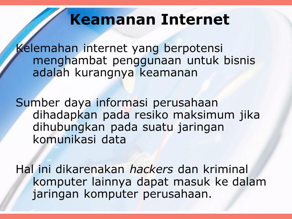 Keamanan Internet Kelemahan internet yang berpotensi menghambat penggunaan untuk bisnis adalah kurangnya keamanan.