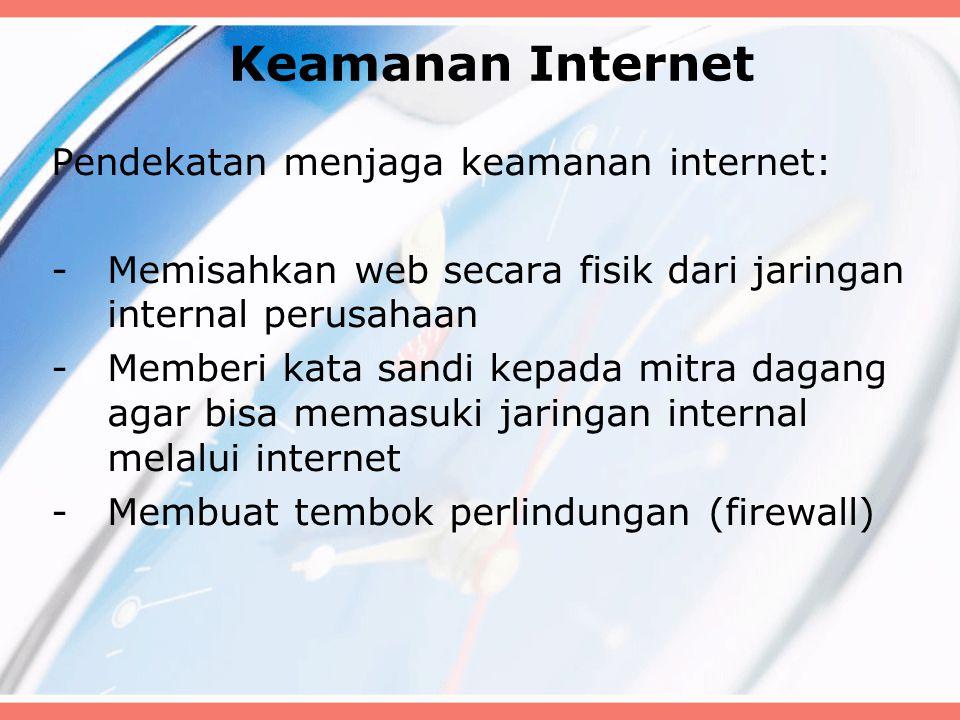 Keamanan Internet Pendekatan menjaga keamanan internet: