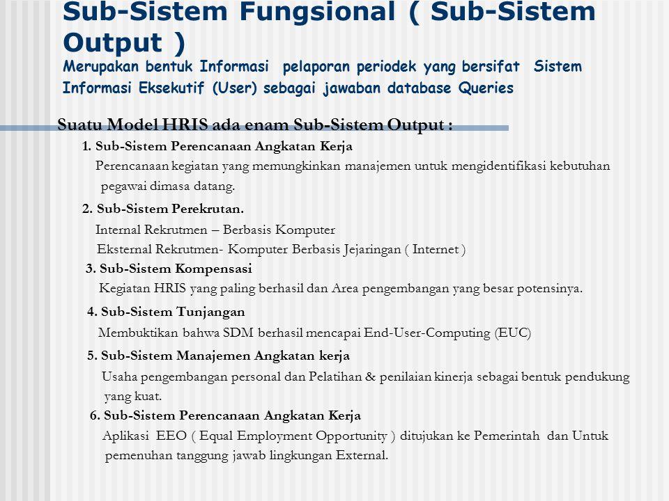 Sub-Sistem Fungsional ( Sub-Sistem Output ) Merupakan bentuk Informasi pelaporan periodek yang bersifat Sistem Informasi Eksekutif (User) sebagai jawaban database Queries