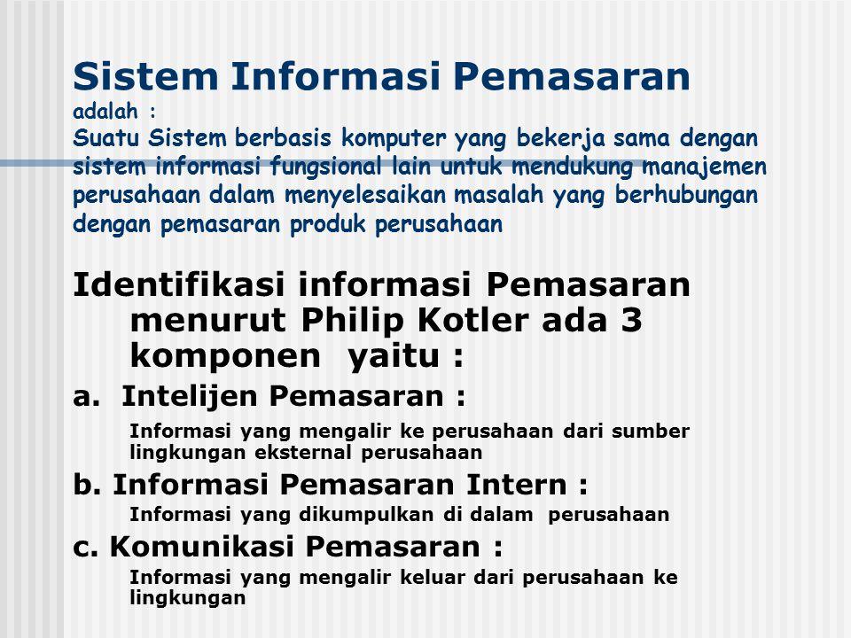 Sistem Informasi Pemasaran adalah : Suatu Sistem berbasis komputer yang bekerja sama dengan sistem informasi fungsional lain untuk mendukung manajemen perusahaan dalam menyelesaikan masalah yang berhubungan dengan pemasaran produk perusahaan