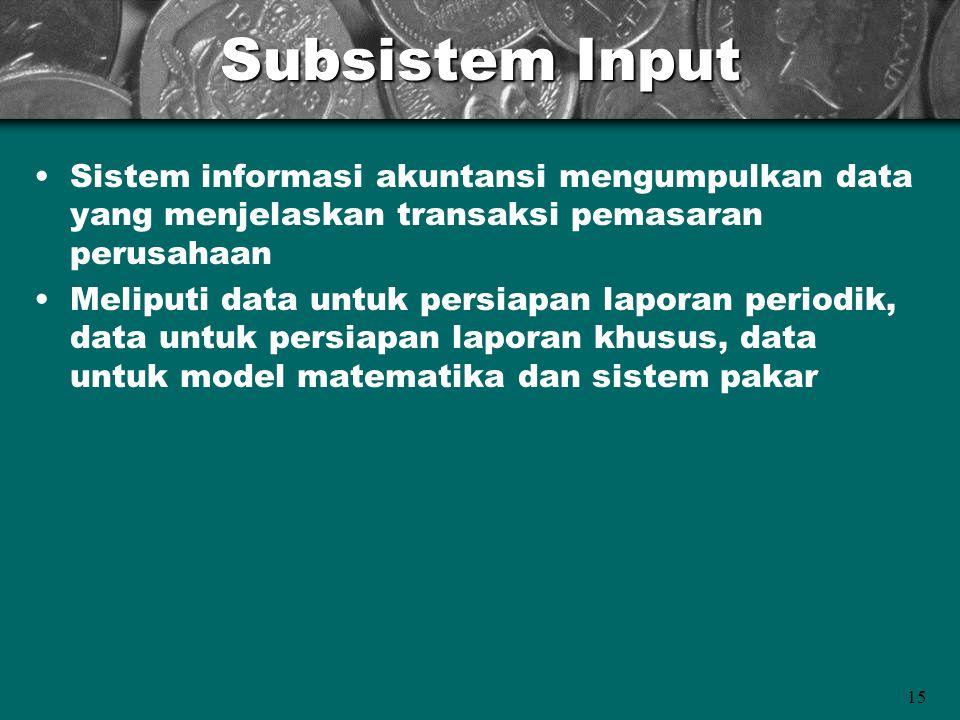 Subsistem Input Sistem informasi akuntansi mengumpulkan data yang menjelaskan transaksi pemasaran perusahaan.