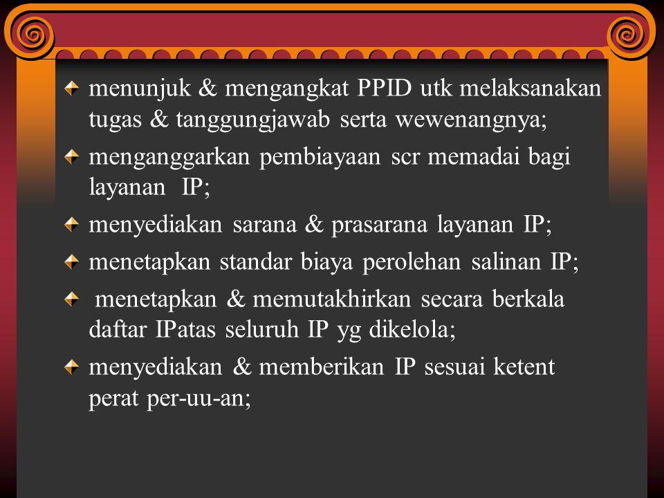 menunjuk & mengangkat PPID utk melaksanakan tugas & tanggungjawab serta wewenangnya;